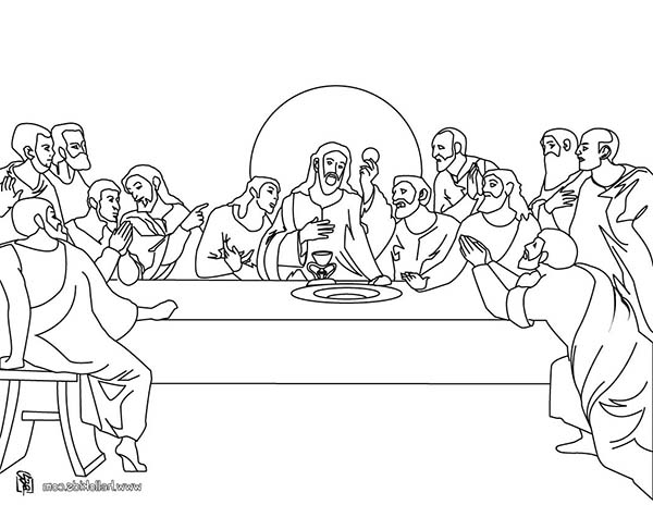 Jesus and His Twelve Disciples in Last Supper Coloring