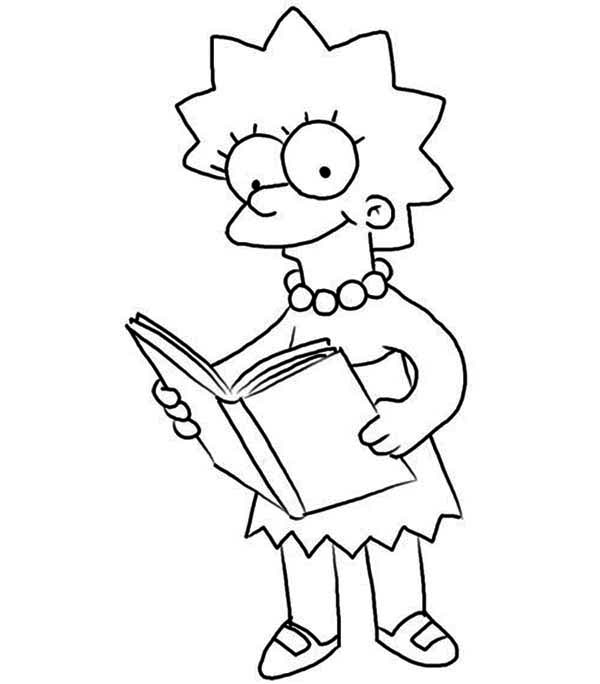 Lisa Love Reading Books In The Simpsons Coloring Page