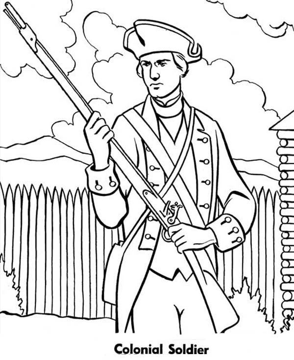Military Colonial Soldier in Armed Forces Day Coloring