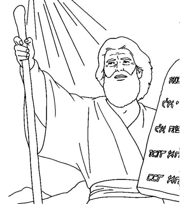 Moses Receives Ten Commandments Coloring Page: Moses