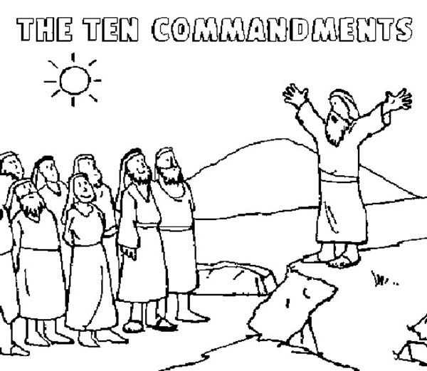 Moses Tell to People about Ten Commandments Coloring Page