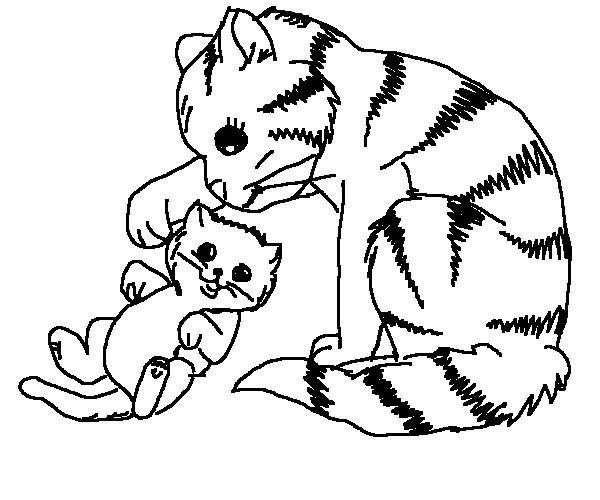 Mother Of Cat Touch Her Kitten Ear Coloring Page: Mother