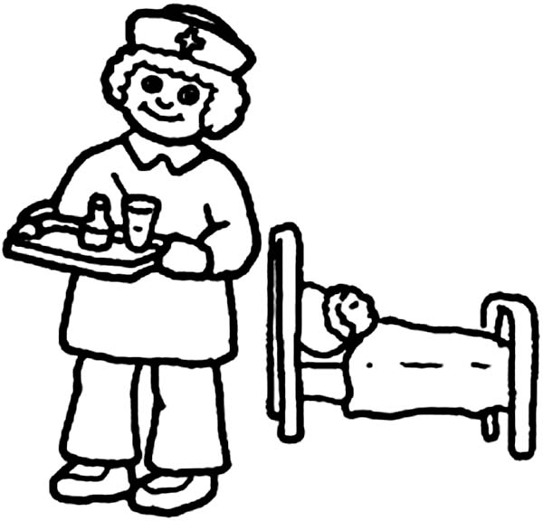 Nurse Giving Medicine to Patient in Doctor Coloring Page