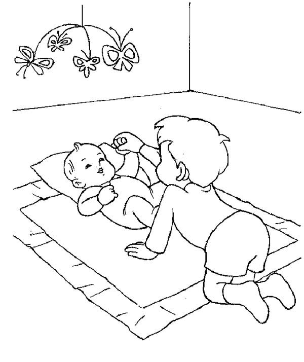 big brother baby sister coloring pages sketch coloring page
