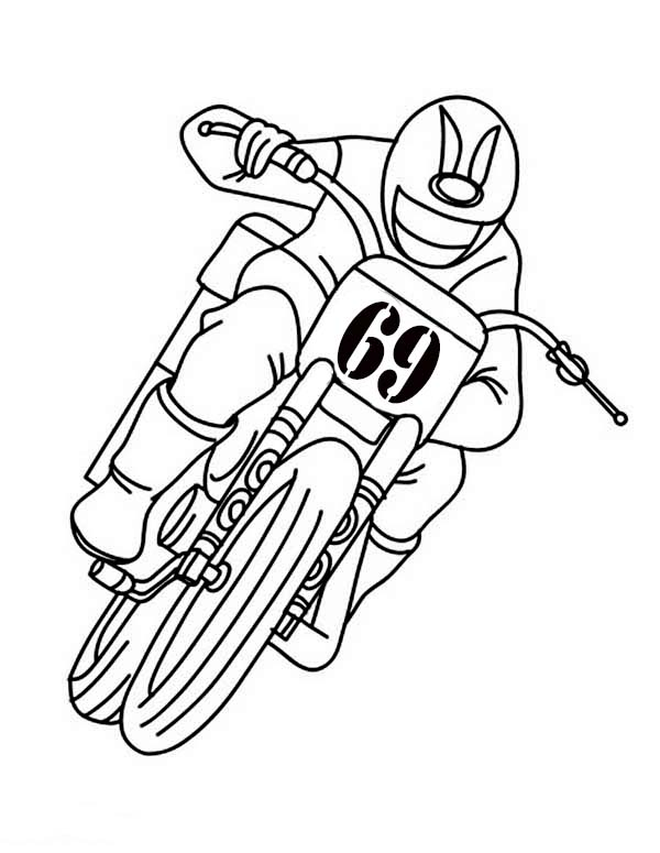 Riding Dirt Bike with Only One Hand Coloring Page: Riding