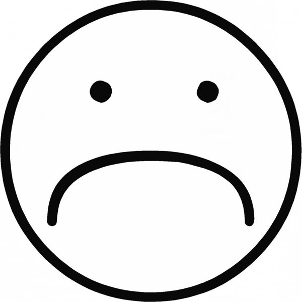 Free Sad Smiley Face Colour Coloring Pages