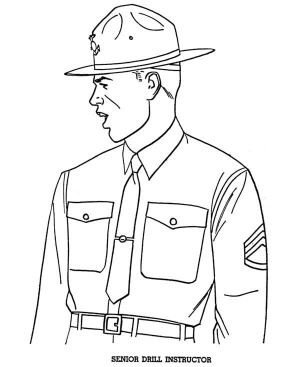 Senior Drill Instructor in Armed Forces Day Coloring Page