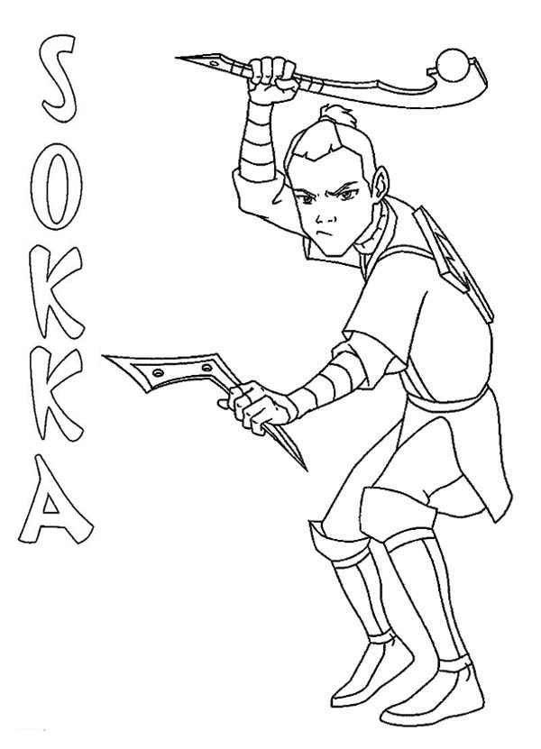 Sokka from Avatar the Last Air Bender Coloring Page