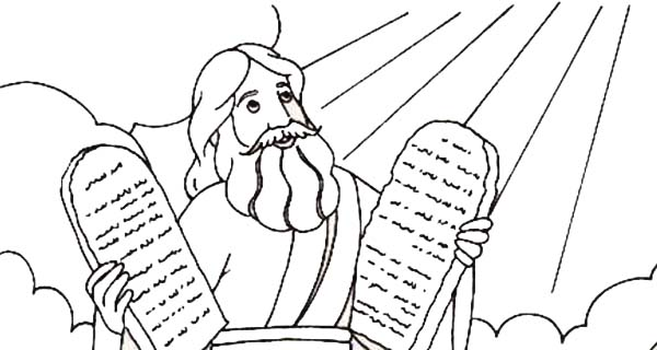 Stone Tablet About Ten Commandments Coloring Page: Stone