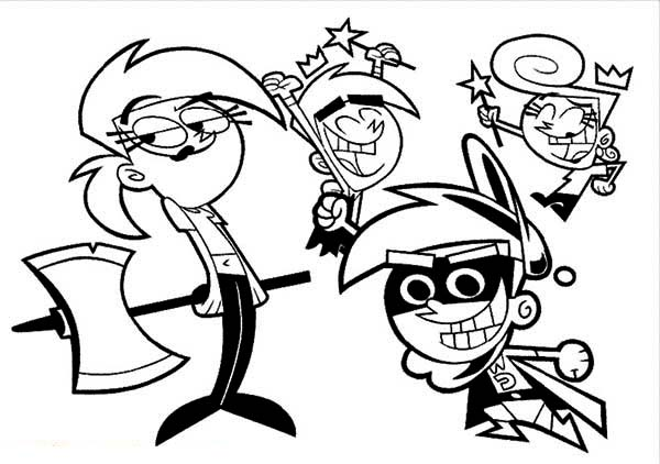 The Fairly Odd Parents Hero And Villain Coloring Page: The