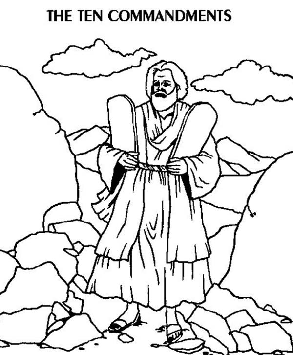 The Two Stone Tablets of Ten Commandments Coloring Page
