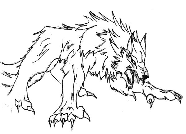 werewolf ready to pounce coloring page werewolf ready to
