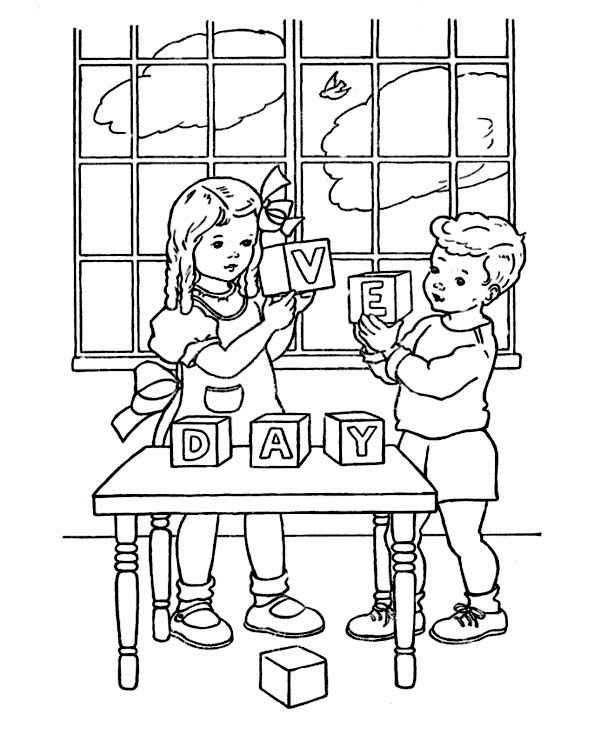 Two Kids Celebrating Veterans Day Wood Block Coloring Page