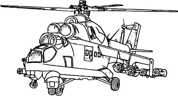 Helicopter Outline Coloring Pages: Helicopter Outline