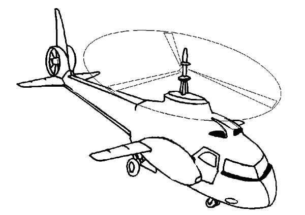 Helicopter On Mission Coloring Pages: Helicopter on