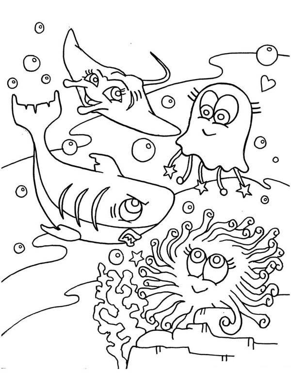 Cute Jellyfish Shark and Manta Ray Coloring Pages: Cute