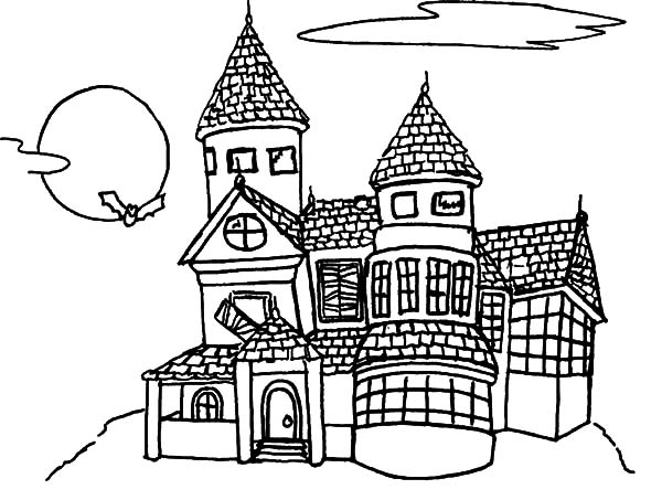 Haunted House Up on the Hill Coloring Pages: Haunted House
