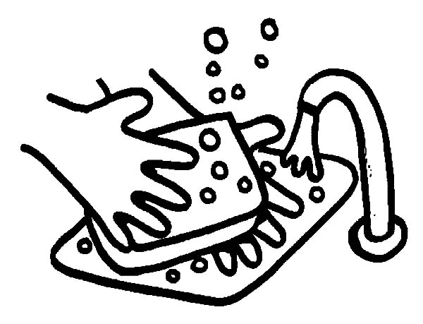 Hand Washing Sink Soap Coloring Pages: Hand Washing Sink