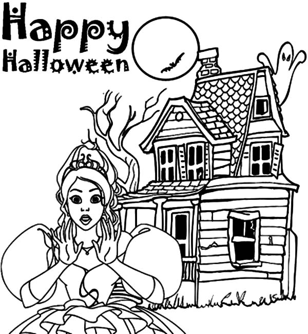 Flying Ghost of Haunted House Coloring Pages: Flying Ghost