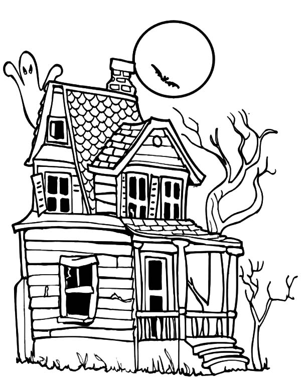 Haunted House Under Full Moon Night Coloring Pages