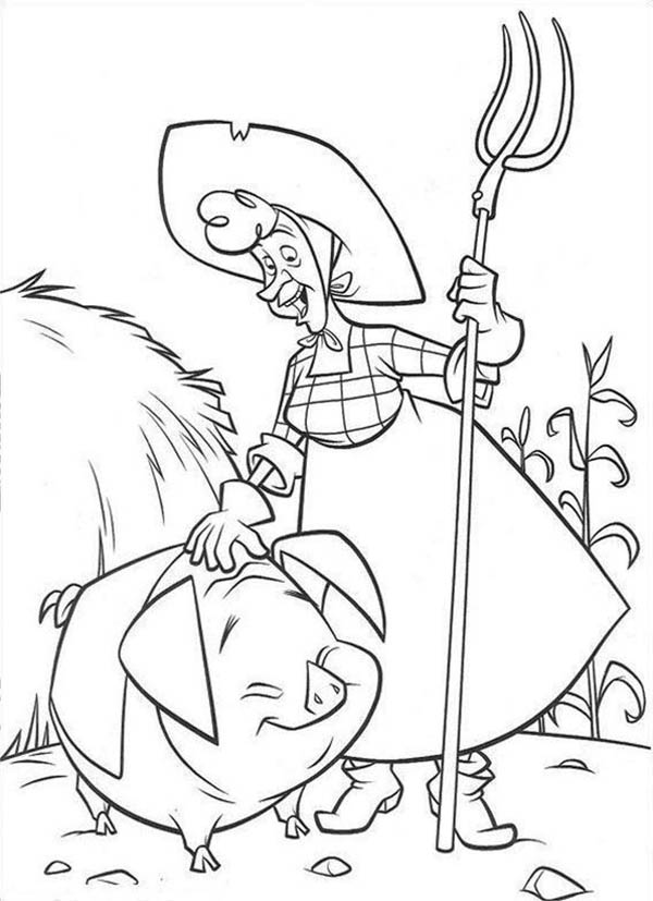 Home On The Prairie Old Lady And Cute Little Pig Coloring