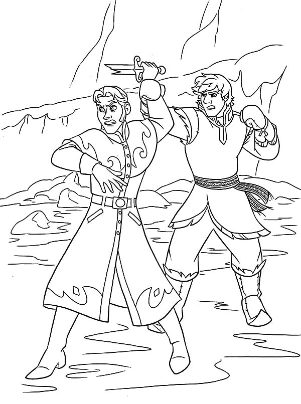 Prince Hans Touch Princess Anna's Chin Coloring Pages