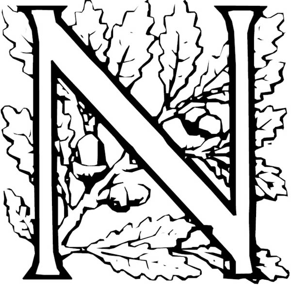 Letter N Free Alphabet Coloring Pages For Necklace