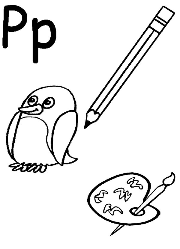 Letter P is for Pizza Coloring Page: Letter P is for Pizza