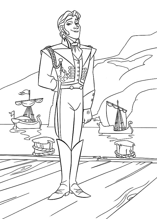 Prince Hans Standing On Dock Coloring Pages: Prince Hans