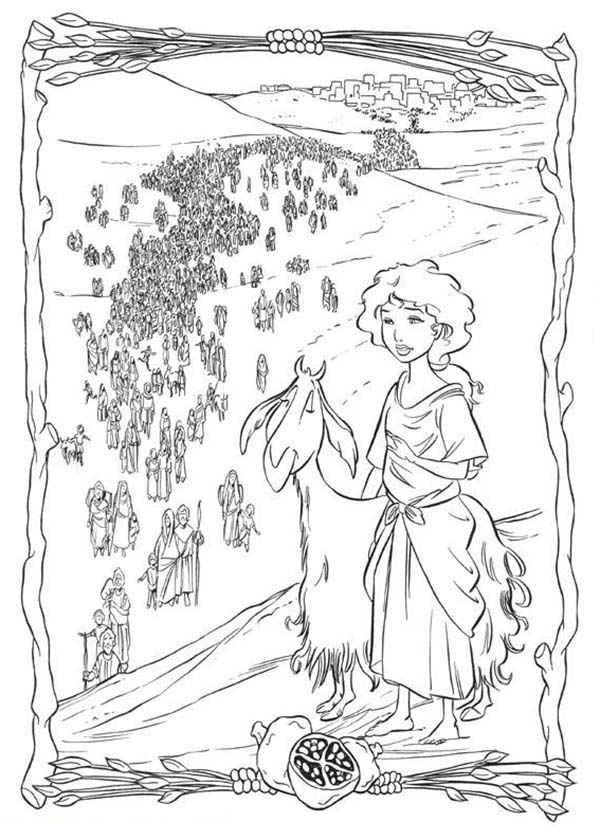 Tzipporah Lift The Prince of Egypt from Well Coloring