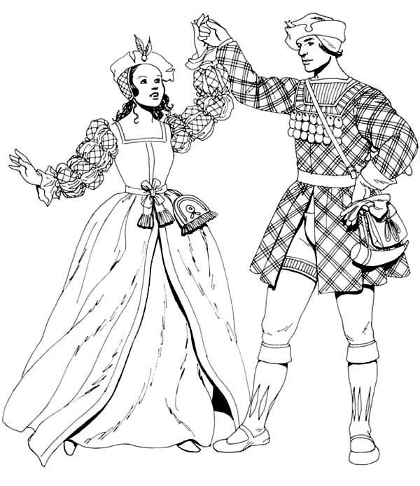 Renaissance Girl Dress Up Coloring Pages: Renaissance Girl