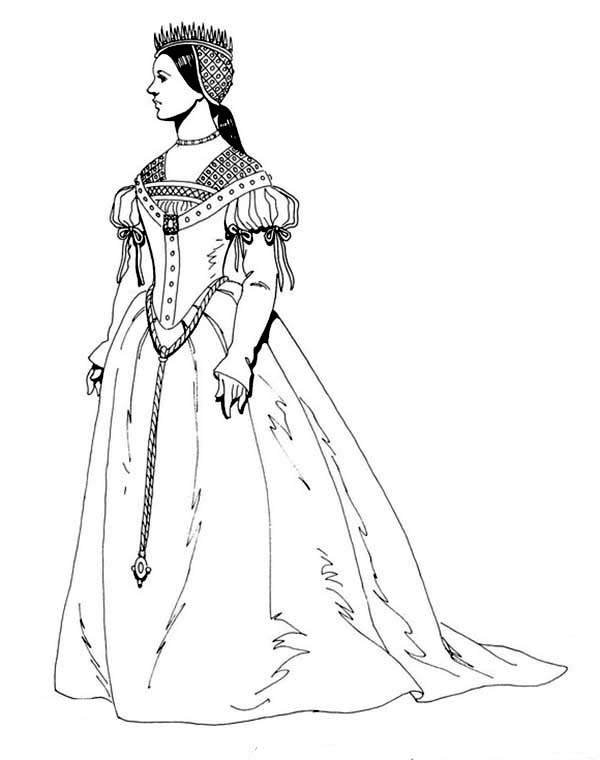 Renaissance Clothing Pages Coloring Pages