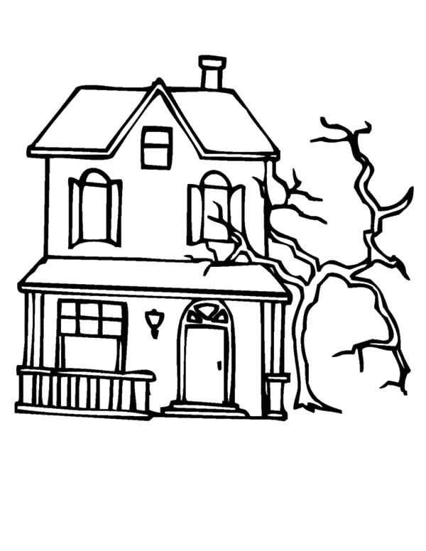 Spooky Dead Tree Beside Haunted House Coloring Pages