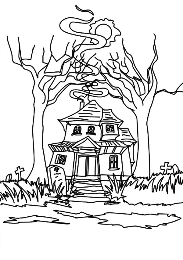 Haunted House Full of Scary Ghost Coloring Pages: Haunted