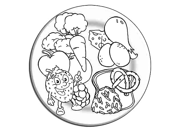 Eating Healthy Foods Coloring Page Sketch Coloring Page