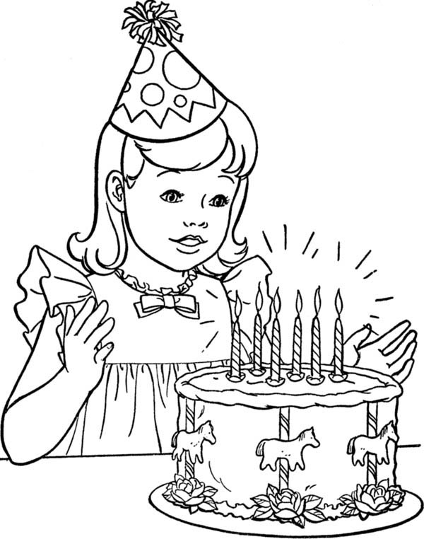 A Little Girl with Happy Birthday Cake Coloring Page: A