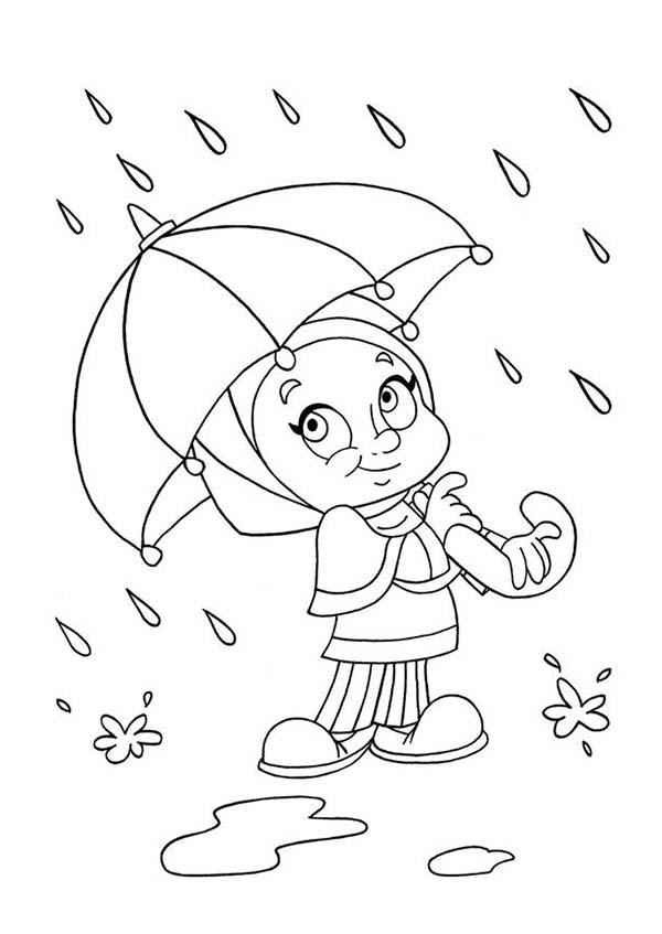 Cute Raindrop Boy Coloring Page Cute Raindrop Boy
