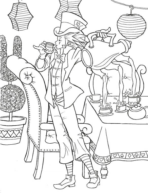 Amazing Mad Hatter and Three Hole Teapot Coloring Page