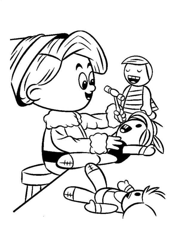 An Elf Fixing a Doll Coloring Page: An Elf Fixing a Doll
