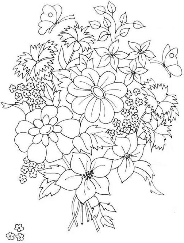 Beautiful Flower Bouquet Coloring Page Color Luna