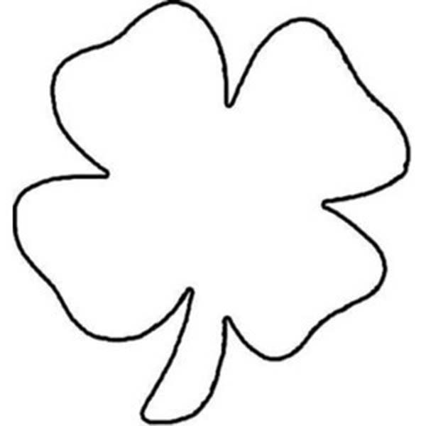 childrens drawing of fourleaf clover coloring page