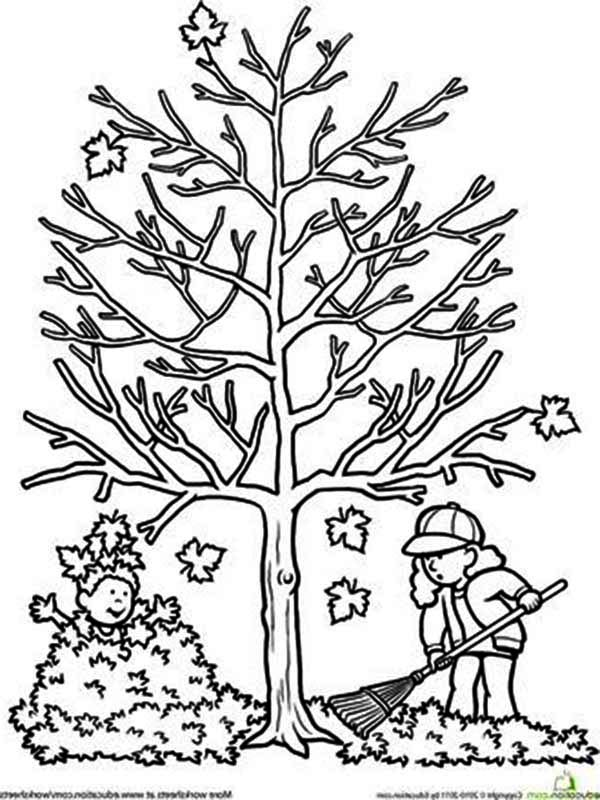 Clean Up Autumn Fall Leaf Coloring Page: Clean Up Autumn