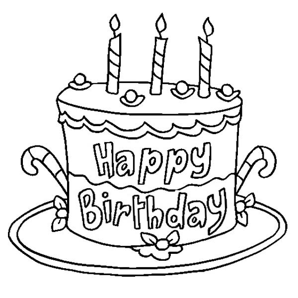 Delicious Happy Birthday Cake Coloring Page: Delicious