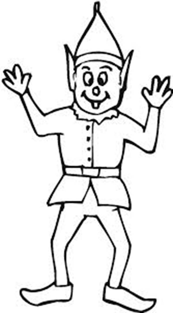 Elf Greeting Coloring Page: Elf Greeting Coloring Page