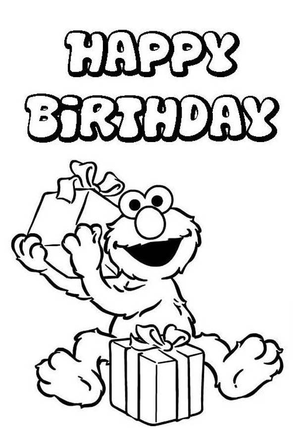 Elmo Love to Receipt Present in Happy Birthday Coloring