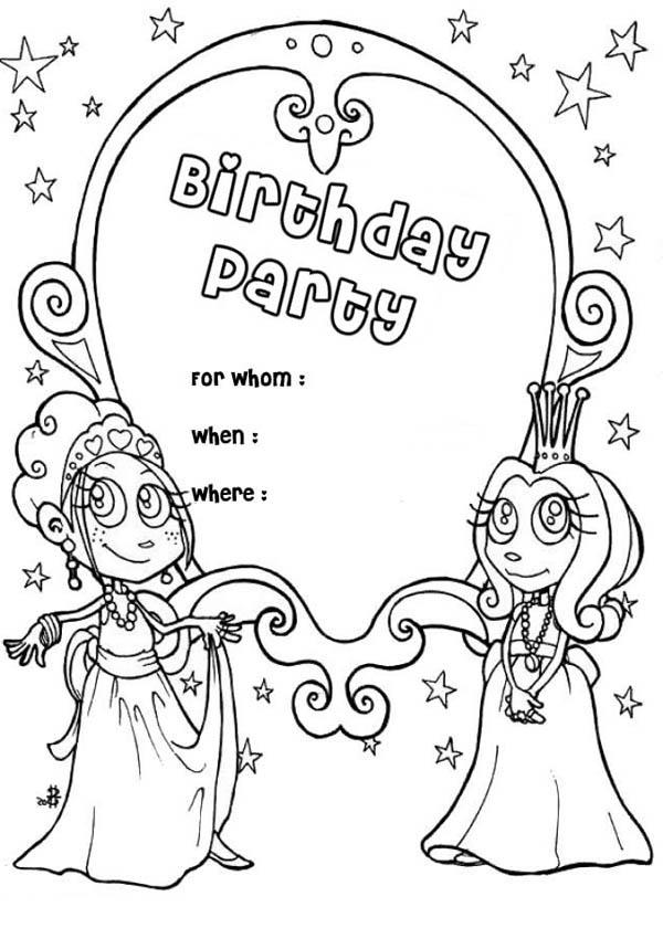 Happy Birthday Party Invitation Coloring Page : Color Luna