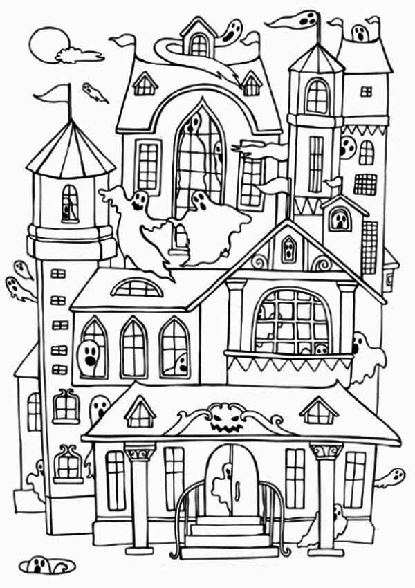 Haunted Houses with Many Ghost Coloring Page: Haunted