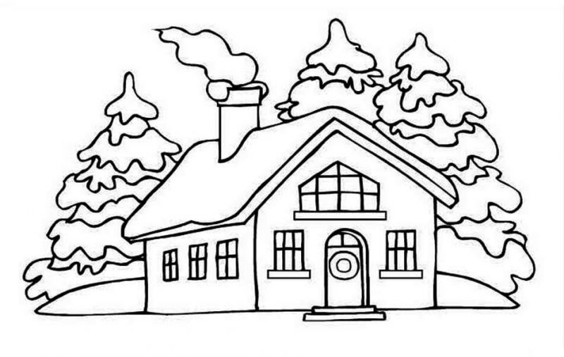 House Picture on Winter in Houses Coloring Page: House