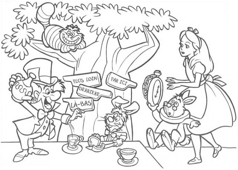 Mad Hatter Having Tea Party Coloring Page: Mad Hatter