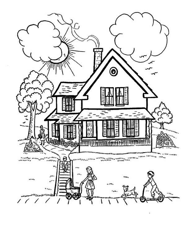 Perfect House With Family In Houses Coloring Page : Color Luna